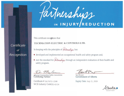 Certificate of Recognision - Partnerships in Injury Reduction