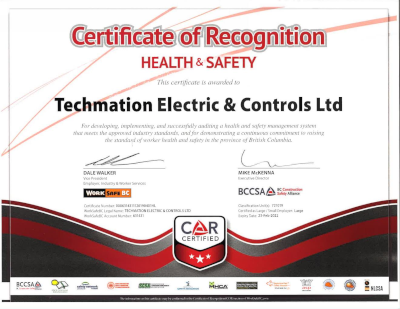 Certificate of Recognision - Health and Safety