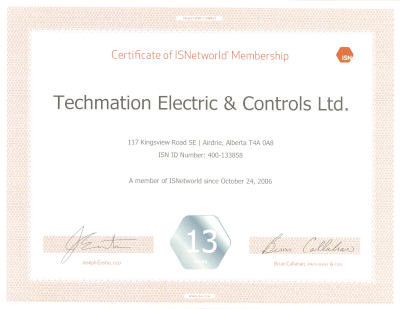 Certificate of ISNetworld Membership
