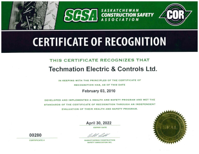 Certificate of Recognision - SCSA
