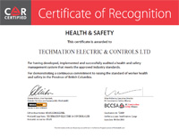 Certificate of Recognision - Health & Safety British Columbia